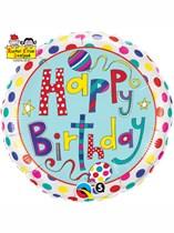 """Rachel Ellen Birthday Polka Dots & Stripes 18"""" Foil Balloon"""
