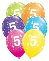 """Age 5 Stars Around Latex 11"""" Balloons 25pk"""