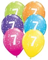 """Age 7 Stars Around Latex 11"""" Balloons 25pk"""