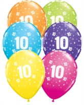 "Age 10 Latex 11"" Balloons 6pk"