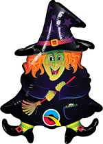 "Halloween Witch With Broom 14"" Air Fill Foil Balloon"