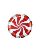 "Red Candy Swirl 9"" Foil Balloon"