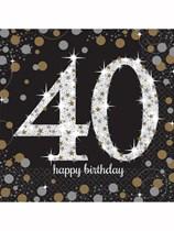 40th Birthday Gold Celebration Luncheon Napkins 16pk
