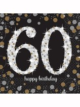 60th Birthday Gold Celebration Luncheon Napkins 16pk