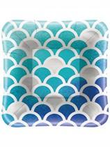 """Ocean Blue Scallop Square 5"""" Appetizer Plates 8pk"""