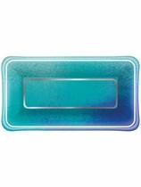 Ocean Blue Scallop Rectangular Appetizer Plates 8pk