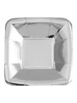 """Foil Silver Square 5"""" Appetizer Plates 8pk"""