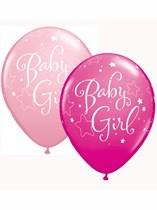"""Asst Pink Baby Girl 11"""" Latex Balloons 25pk"""