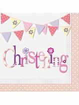 Pink Christening Luncheon Napkins 16pk