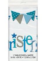 Blue Christening Plastic Tablecover