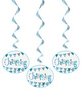 Blue Christening Hanging Swirl Decorations 3pk