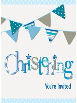 Blue Christening Invitations & Envelopes 8pk