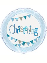 "Blue Christening Bunting 18"" Foil Balloon"