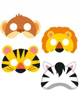 Jungle Animal Party Masks 8pk