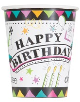 Doodle Birthday Paper Cups 8pk