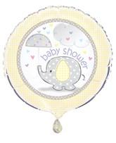"Yellow Umbrellaphants Baby Shower 18"" Foil Balloon"