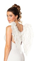 White Folded Angel Feather Wings With Fur Trim