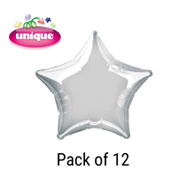 "Silver 20"" Star Shaped Foil Balloons 12pk"