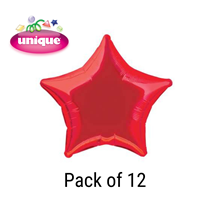 "Red 20"" Star Shaped Foil Balloons 12pk"