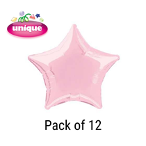 "Pastel Pink 20"" Star Shaped Foil Balloons 12pk"