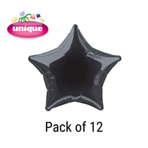 "Black 20"" Star Shaped Foil Balloons 12pk"