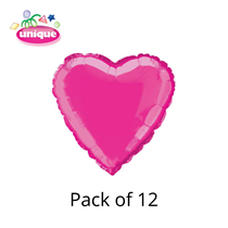 "Hot Pink 18"" Love Heart Foil Balloons Bulk 12pk"