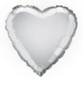 "Single 18"" Silver Heart Shaped Foil Balloon"