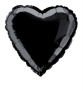 "Single 18"" Black Heart Shaped Foil Balloon"