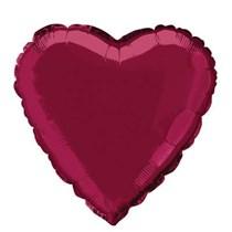 "Single 18"" Burgundy Heart Shaped Foil Balloon"