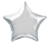 "Single 20"" Silver Star Shaped Foil Balloon"