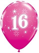 "Age 16 Sparkle Wild Berry 11"" Latex Balloons 6pk"
