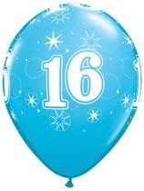 "Age 16 Sparkle Robin's Egg Blue 11"" Latex Balloons 6pk"