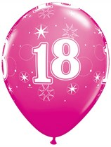 "Age 18 Sparkle Wild Berry 11"" Latex Balloons 6pk"