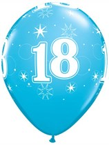 "Age 18 Sparkle Robin's Egg Blue 11"" Latex Balloons 6pk"