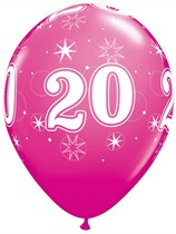 "Age 20 Sparkle Wild Berry 11"" Latex Balloons 6pk"