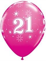 "Age 21 Sparkle Wild Berry 11"" Latex Balloons 6pk"