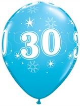 "Age 30 Sparkle Robin's Egg Blue 11"" Latex Balloons 6pk"