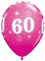 "Age 60 Sparkle Wild Berry 11"" Latex Balloons 6pk"