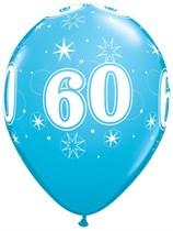 "Age 60 Sparkle Robin's Egg Blue 11"" Latex Balloons 6pk"