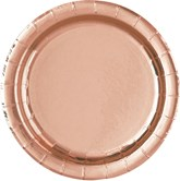 "Rose Gold Foil 7"" Round Plates 8pk"