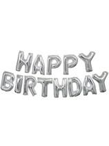 "Silver Happy Birthday Foil Balloon Letter Banner 14"""