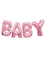 Pink Baby Foil Balloon Letter Banner 14""