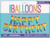 "Happy Birthday 14"" Rainbow Foil Balloons Banner"