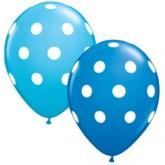 """Asst'd Blue Polka Dot 11"""" Latex Balloons 25pk"""