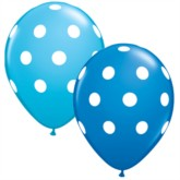 "Asst'd Blue Polka Dot 11"" Latex Balloons 25pk"