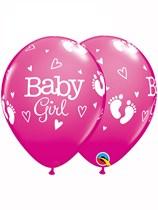 "Baby Girl Footprints 11"" Latex Balloons 25pk"