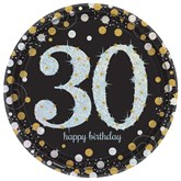 Gold Celebration 30th Birthday Paper Plates 8pk