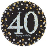 Gold Celebration 40th Birthday Paper Plates 8pk