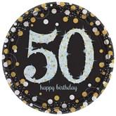 Gold Celebration 50th Birthday Paper Plates 8pk