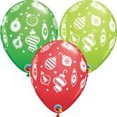 Christmas Ornaments Assorted Latex Balloons 25pk